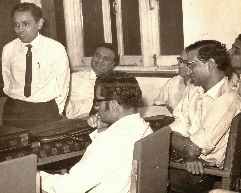 Shri Harkisan Mehta (Centre) Seated with famous author Shri Chandulal Selarka and also firebrand author as well as professor at Mithibai, Shri Chandrakant Baxi